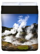 Iceland Geothermal Area With Steam From Hot Springs Duvet Cover
