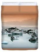 Iceland, Jokulsarlon Glacial Lagoon , Icebergs Melting Duvet Cover