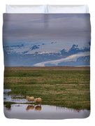 Iceland Sheep Reflections Panorama  Duvet Cover
