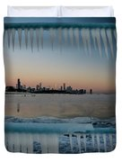 Icicles And Chicago Skyline Duvet Cover
