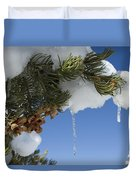 Icicles On Pine Tree Duvet Cover