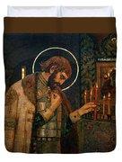 Icon Of Reverend Prince Alexander Nevsky. Saint Petersburg Duvet Cover