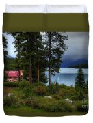 Iconic Maligne Lake And Boat House II Duvet Cover