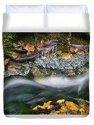 Icy Foliage Stream Duvet Cover