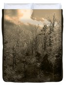 Icy Trees In Sepia Duvet Cover