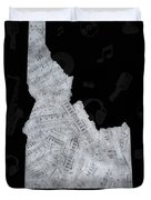 Idaho Map Music Notes 2 Duvet Cover