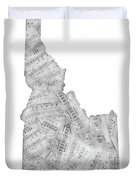 Idaho Map Music Notes Duvet Cover