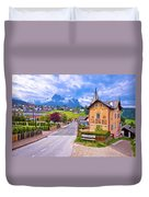 Idyllic Alpine Town Of Kastelruth Architecture And Mountains Vie Duvet Cover