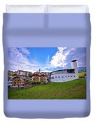 Idyllic Alpine Town Of Kastelruth On Green Hill View Duvet Cover