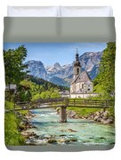Idyllic Church In The Alps Duvet Cover