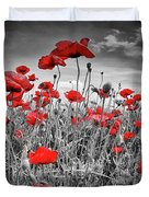 Idyllic Field Of Poppies Colorkey Duvet Cover