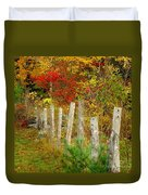 If I Could Paint No 1 - New England Fall Fence Duvet Cover