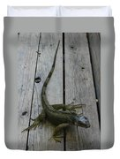 Iguana At The Ready Duvet Cover