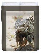Iguana On A White Sand Beach Up Close Duvet Cover