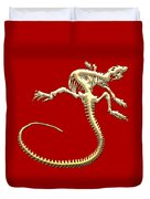 Iguana Skeleton In Gold On Red  Duvet Cover