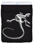 Iguana Skeleton In Silver On Black  Duvet Cover