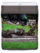 Iguana Trio Duvet Cover