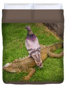 Iguana With Pigeon On Its Back Duvet Cover