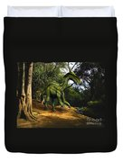 Iguanodon In The Jungle Duvet Cover