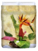 Ikebana Bird Of Paradise Duvet Cover