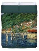 il porto di Bellano Duvet Cover by Guido Borelli