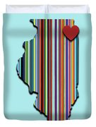 Illinois With Love Geometric Map Duvet Cover