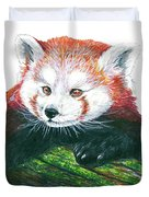 Illlustration Of Red Panda On Branch Drawn With Faber Castell Pi Duvet Cover