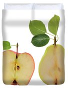 Illustration Of Apple And Pear Duvet Cover