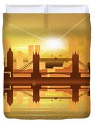 Illustration Of City Skyline - London  Sunset Panorama Duvet Cover