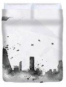 Illustration Of City Skyline - Rio De Janeiro In Chinese Ink Duvet Cover