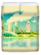 Illustration Of Singapore In Watercolour Duvet Cover