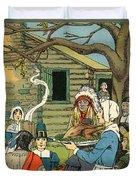 Illustration Of The First Thanksgiving Duvet Cover