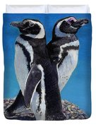 I'm Not Talking To You - Penguins Duvet Cover