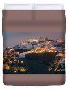 Imerovigli After Sunset, Santorini Duvet Cover
