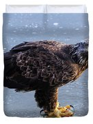 Immature Eagle Having Lunch Duvet Cover