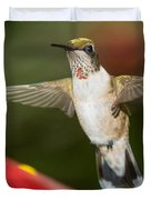 Immature Male Ruby-throated Hummer Duvet Cover
