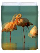 Impressionist Flamingo Abstract Duvet Cover by Shelli Fitzpatrick