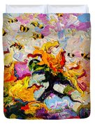 Impressionist Sunflowers And Bees Duvet Cover