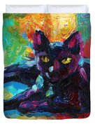 Impressionistic Black Cat Painting 2 Duvet Cover