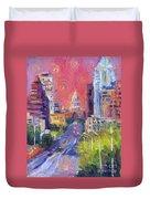 Impressionistic Downtown Austin City Painting Duvet Cover