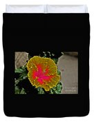 Impressionistic Hibiscus Yellow And Red  Duvet Cover