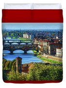 Impressions Of Florence - Long Blue Shadows On The Arno River Duvet Cover