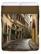 Impressions Of Florence - Walking On The Silver Street In The Rain Duvet Cover