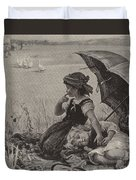 In The Harvest Field, Guardians Of The Luncheon Basket Duvet Cover