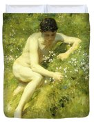 In The Meadow Duvet Cover by Henry Scott Tuke