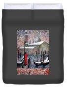 In The Snow In Venice Duvet Cover