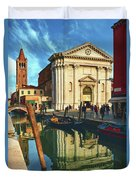 In The Waters Of The Many Venetian Canals Reflected The Majestic Cathedrals, Towers And Bridges Duvet Cover