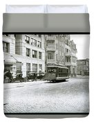 In This 1913 Photo, A Cable Car Drives Past The Littlefield Building And Dristill Hotel On Sixth Str Duvet Cover