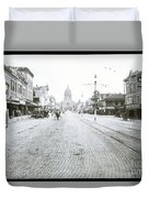 In This Historical 1913 Photo, Horse Drawn Carriages In Downtown Austin, Texas Run Up And Down Congress Avenue Cobblestone Streets Leading Up The The Texas State Capitol Duvet Cover