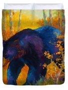 In To Spring - Black Bear Duvet Cover